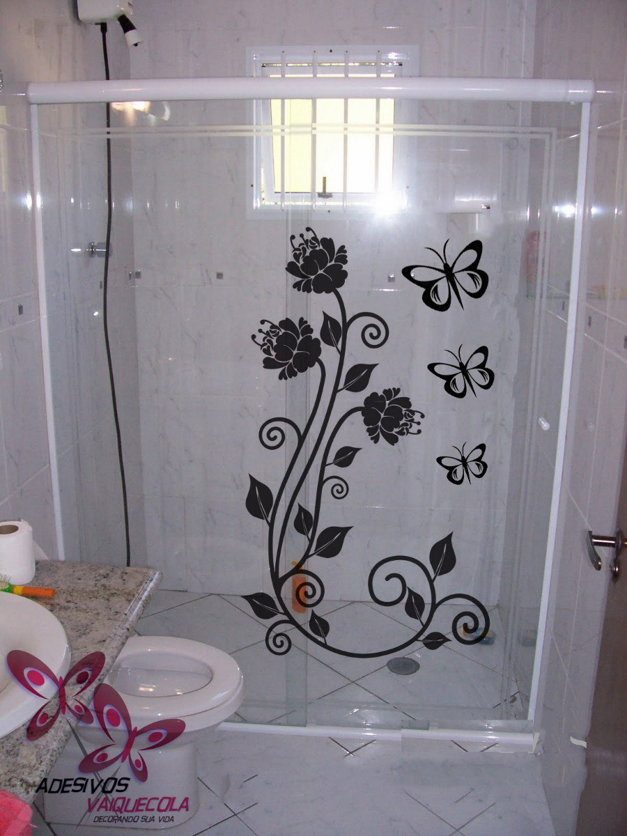 Adesivo Floral Box Banheiro Vidro Borboleta