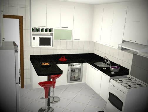 Balcao para cozinha de apartamento pequeno