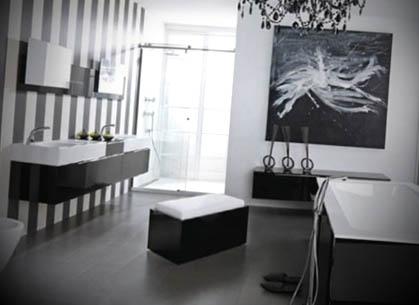 Banheiros modernos preto branco