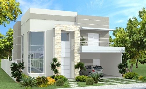 Casas modernas fachadas plantas e projetos for Modelos de casas de una planta modernas