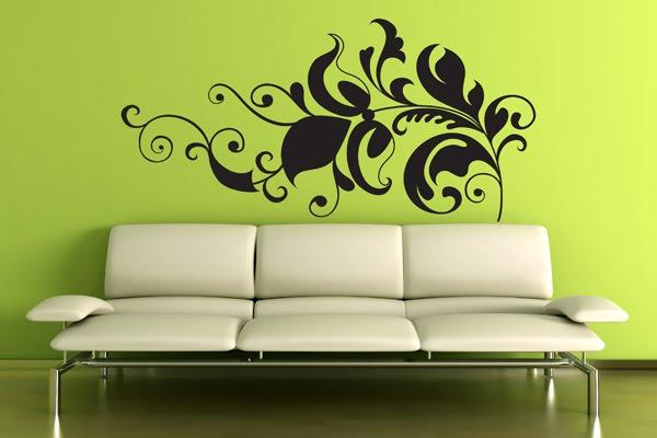 Sala decorada com adesivos decorativos