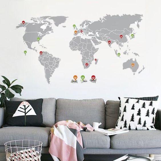 adesivos decorar sala mapa