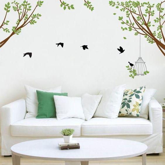 adesivos decorar sala natureza