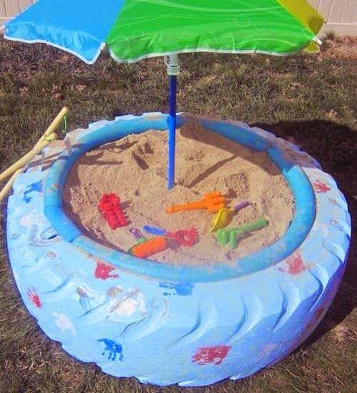 area de brincadeira para as criancas com material reciclado 9
