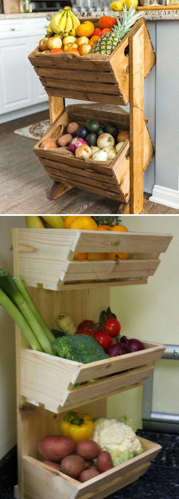 armazenar produtos frescos cozinha caixotes diy