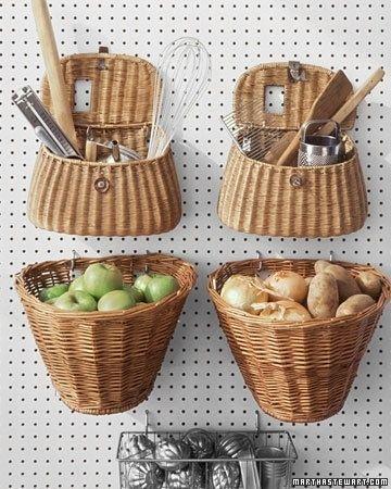 armazenar produtos frescos cozinha cestos ideias