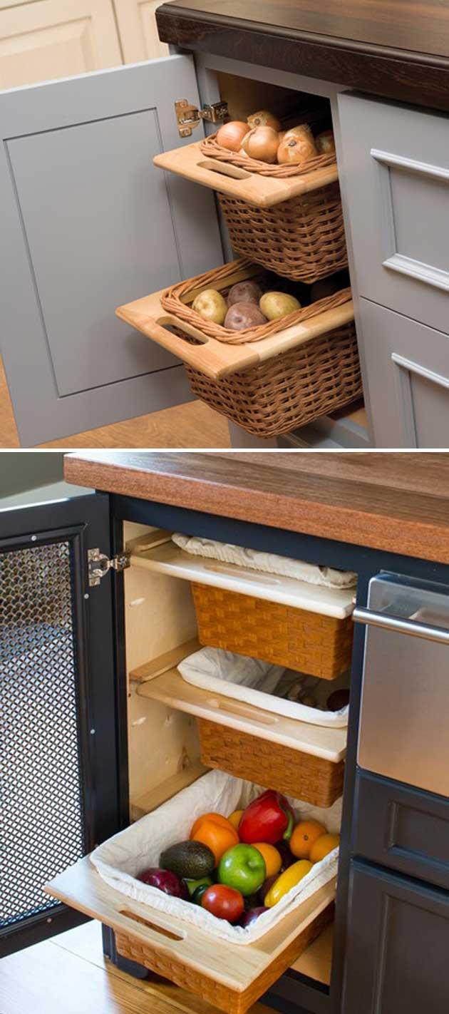 armazenar produtos frescos cozinha gavetas diy