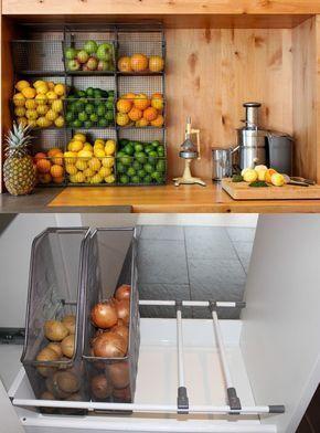 armazenar produtos frescos cozinha gavetas reciclagem