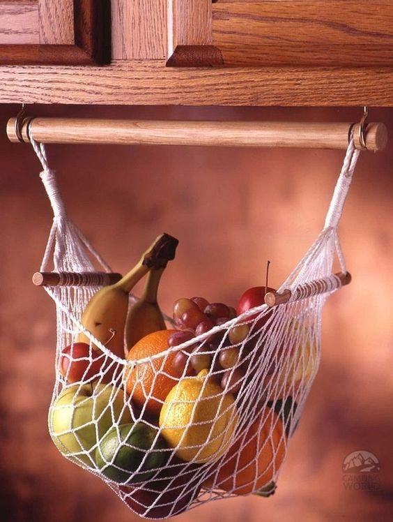 armazenar produtos frescos cozinha suspensa cesta