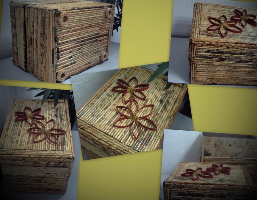 artesanato caixa de papelao e jornal