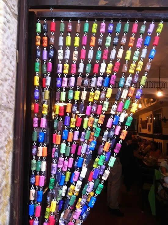 artesanato rolhas cortina