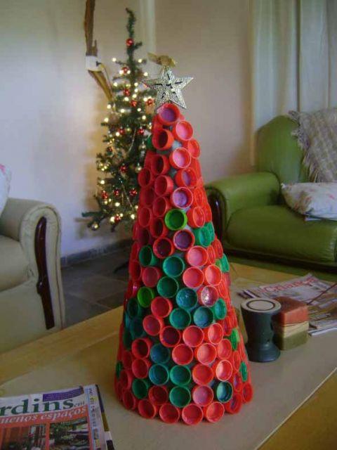 artesanato tampa garrafa arvore natal