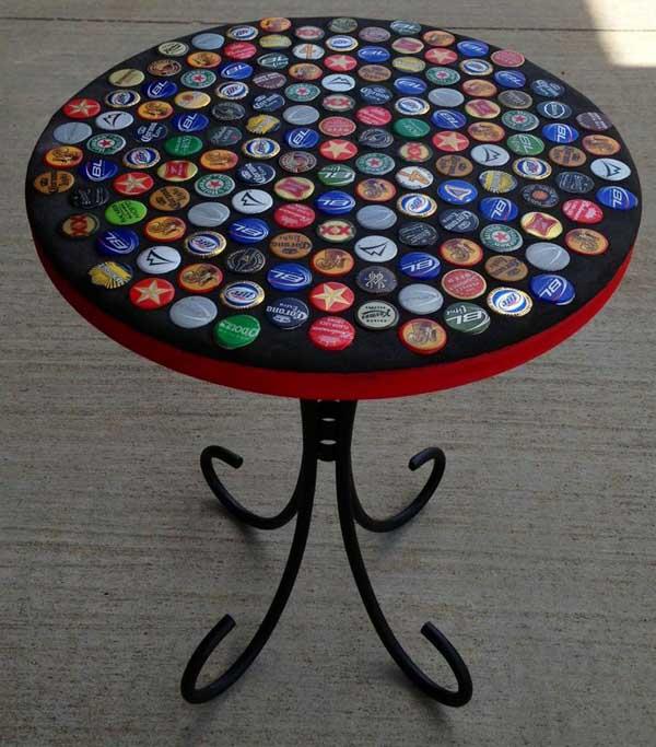 artesanato tampa garrafa mesa