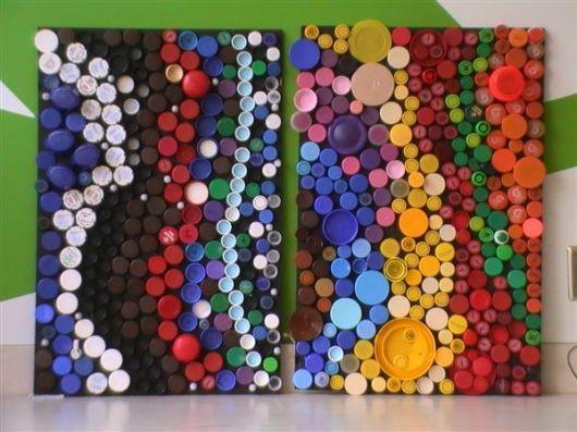 artesanato tampa garrafa quadros