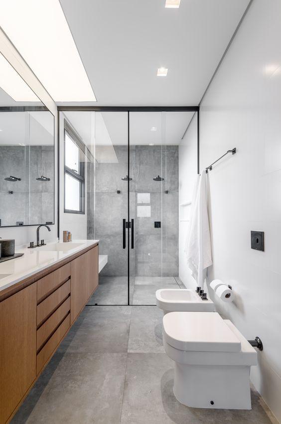 banheiro cinza branco