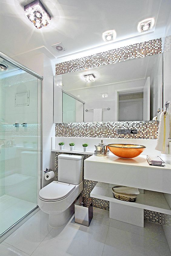 banheiro cuba colorida resina laranja