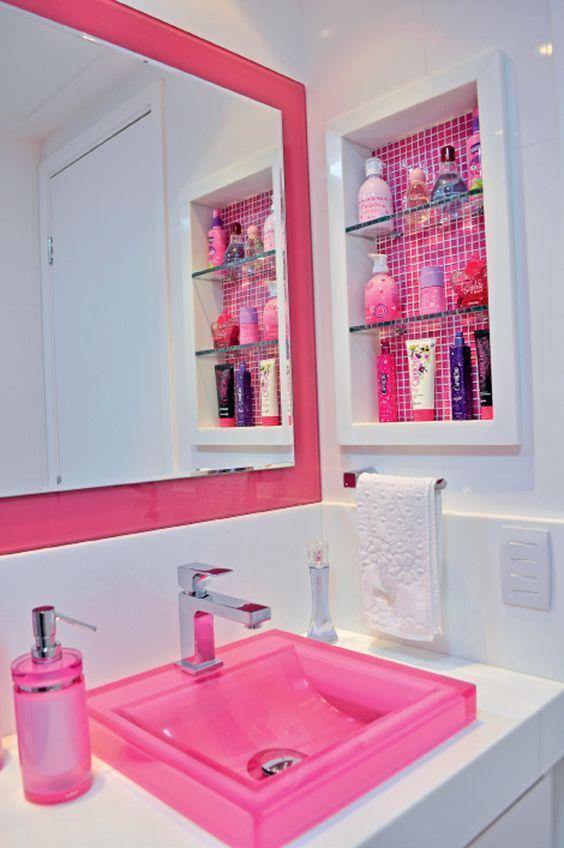 banheiro cuba colorida resina rosa