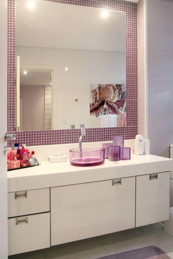 banheiro cuba colorida resina