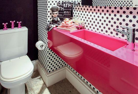 banheiro cuba colorida rosa
