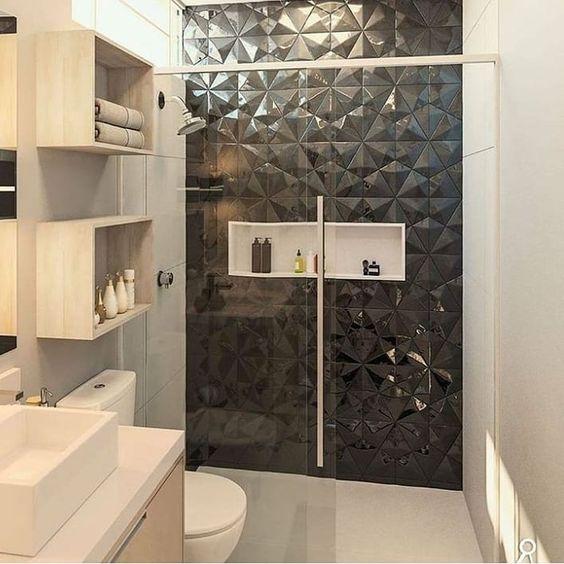 banheiro preto box ceramina