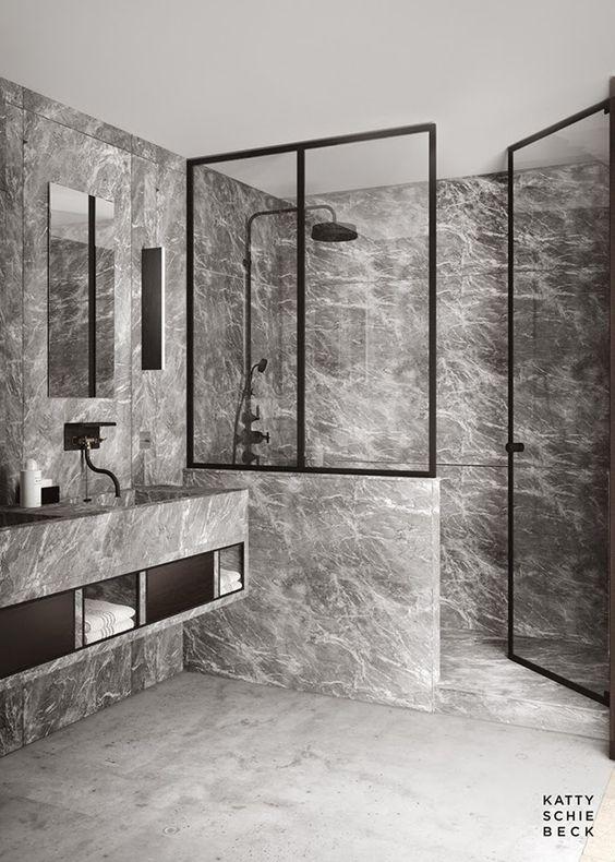 banheiro preto box marmore