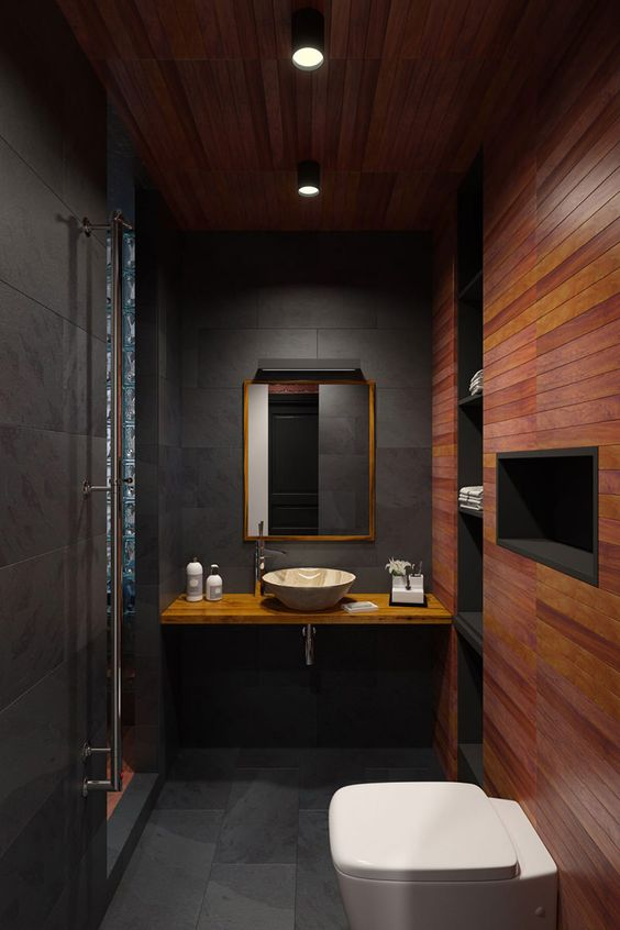 banheiro preto madeira luxo