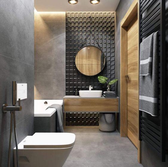 banheiro preto madeira simples