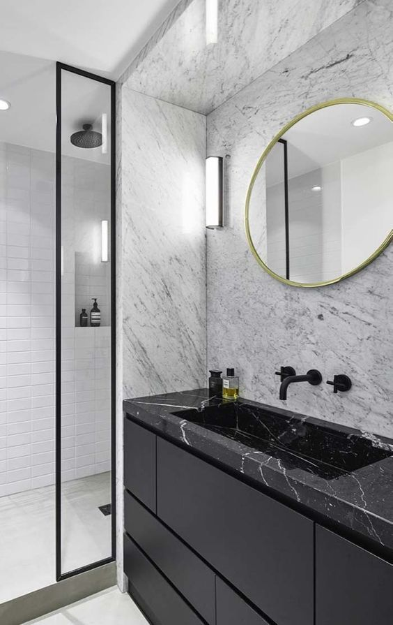 banheiro preto marmore ideias