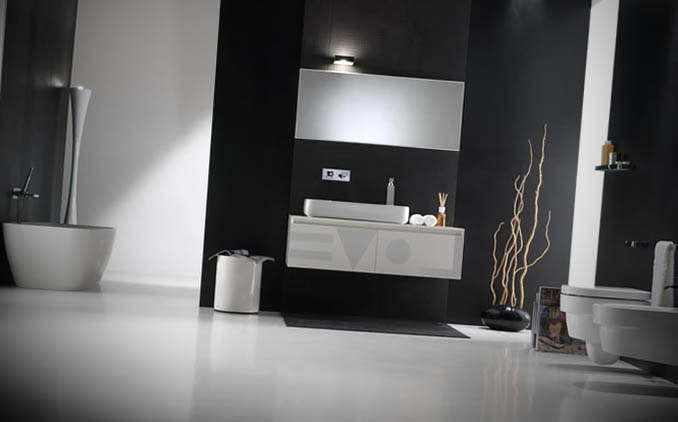 banheiro preto minimalista