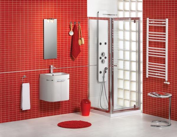 banheiros decorados com pastilhas vermelhas