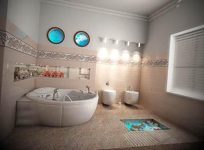 banheiros decorados submarino