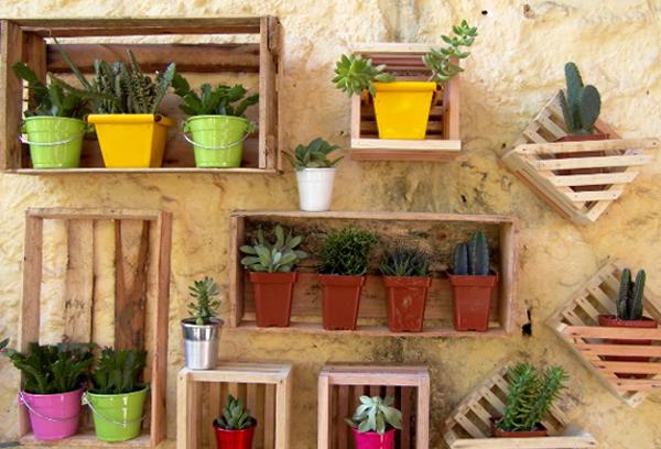 caixotes madeira jardim