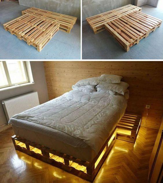 cama de paletes de madeira com luzes 3