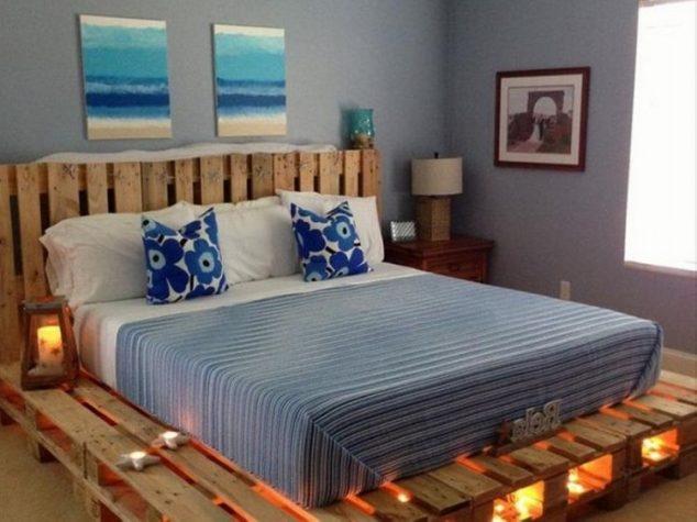 cama de paletes de madeira com luzes 9