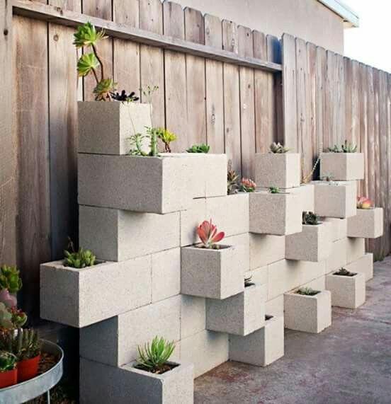 canteiros feitos partir blocos Cimento 5