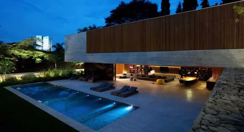 Casas modernas com piscinas for Modelos de piscinas en casa