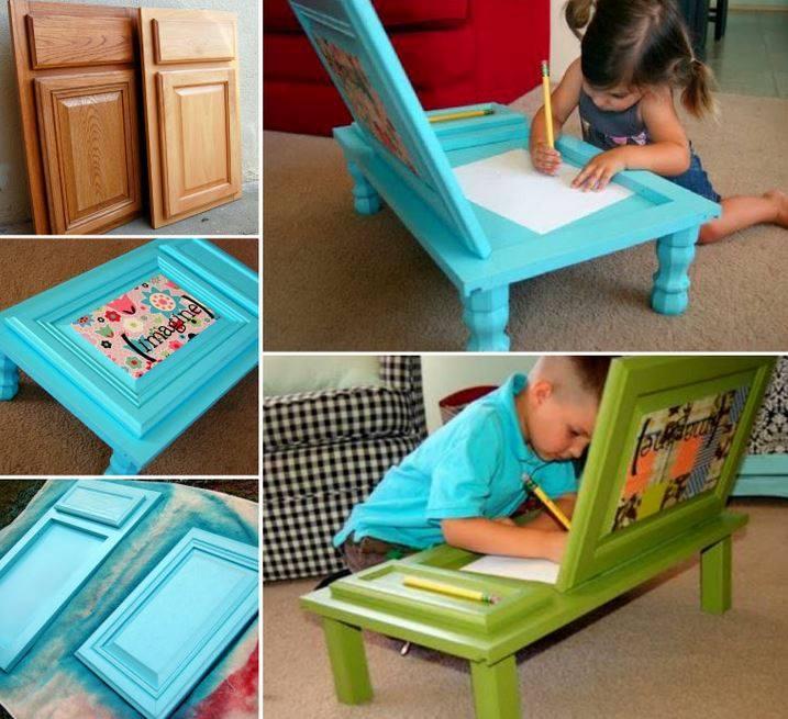 como fazer mesa para crianca com porta de armario 6