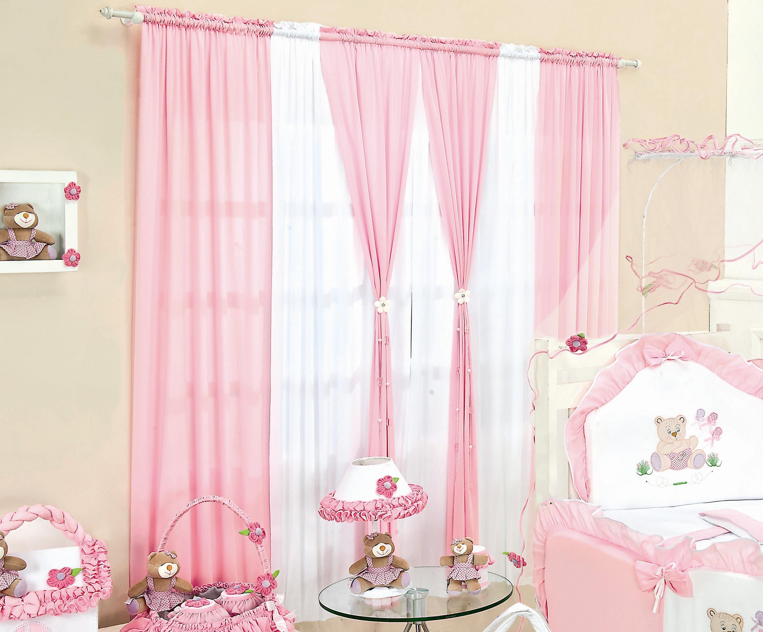 cortinas para quarto de bebe rosa