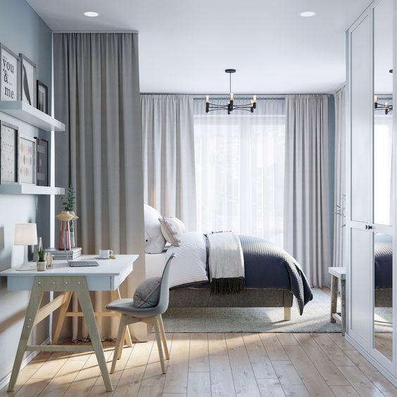 cortinas quarto casal cinza
