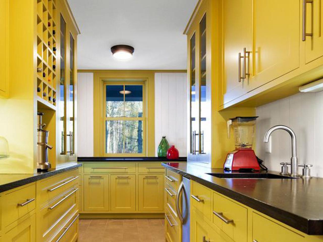 cozinha amarela corredor