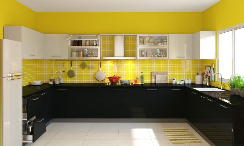 cozinha com paredes amarelas
