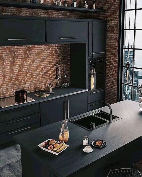 cozinha preta balcao pia