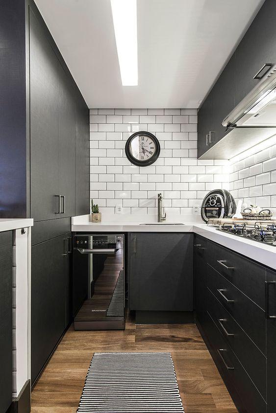 cozinha preta branco