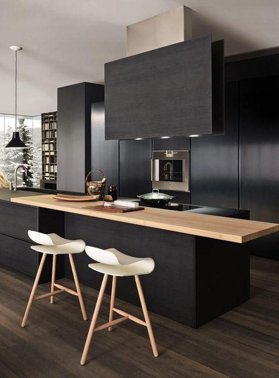 cozinha preta madeira