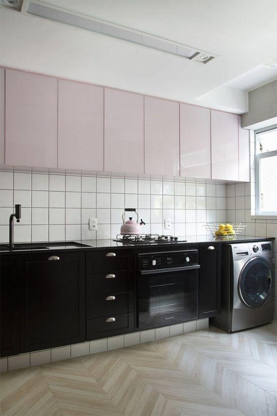 cozinha preta rosa