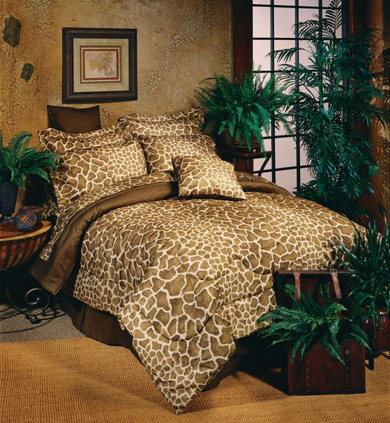 decoracao animal print quarto cama