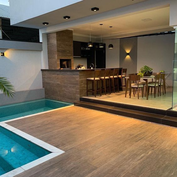 decoracao area lazer piscina