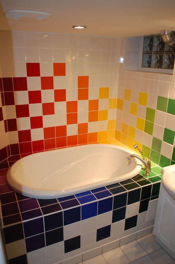 decoracao azulejos banheiros coloridos