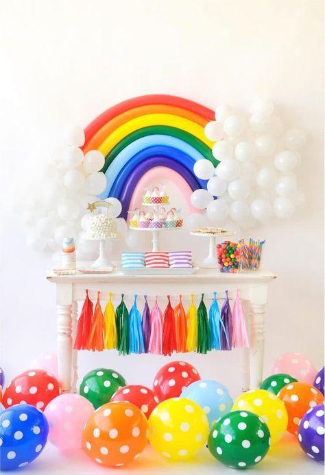 decoracao baloes arco iris