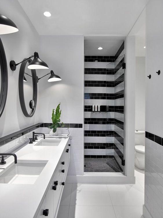 decoracao banheiro criativo preto branco